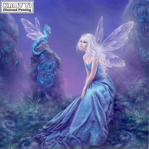 5D Diamond Painting Fairy and The Little Blue Dragon Kit