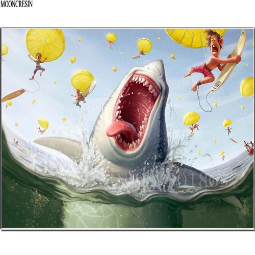 5D Diamond Painting Funny Shark Attack Kit