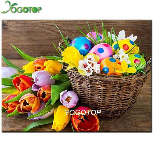 5D Diamond Painting Tulips and Easter Eggs Kit