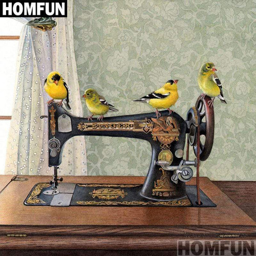 5D Diamond Painting Birds and an Old Sewing Machine Kit