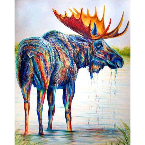 5D Diamond Painting Abstract Moose Kit