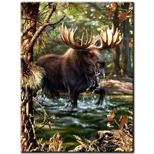 5D Diamond Painting Moose in the Water Kit