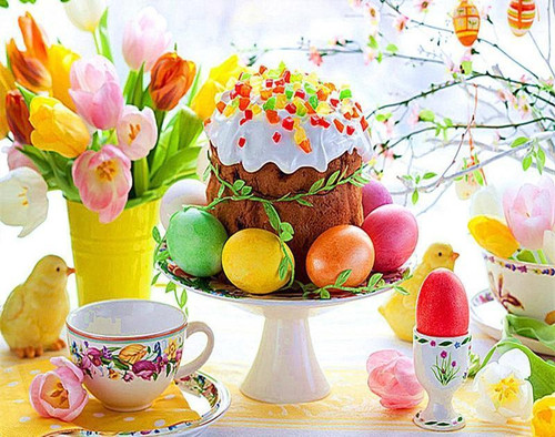 5D Diamond Painting Easter Eggs and Cake Kit