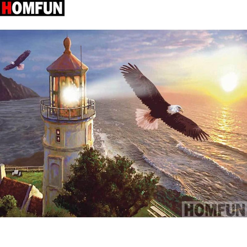 5D Diamond Painting Light house and the Eagle Kit