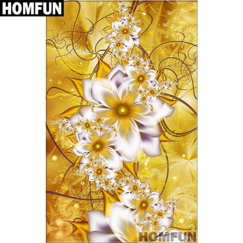 5D Diamond Painting Gold Abstract Flowers Kit