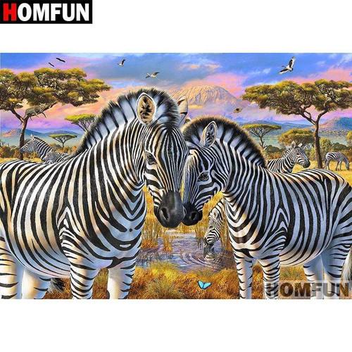 5D Diamond Painting Two Zebras on the Safari Kit