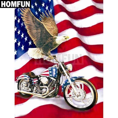 5D Diamond Painting American Eagle Motorcycle Kit