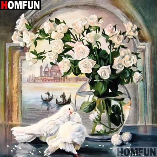 5D Diamond Painting Doves and White Roses Kit