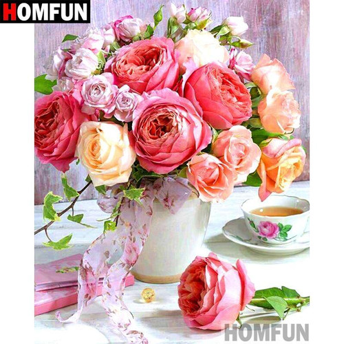 5D Diamond Painting Cabbage Rose Bouquet Kit