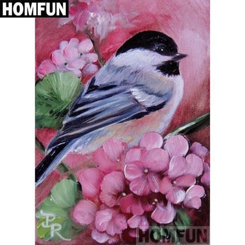 5D Diamond Painting Bird in the Pink Flowers Kit