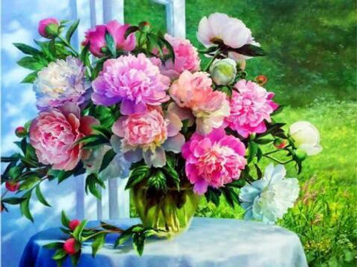 5D Diamond Painting Flower Bouquet on the White Table Kit