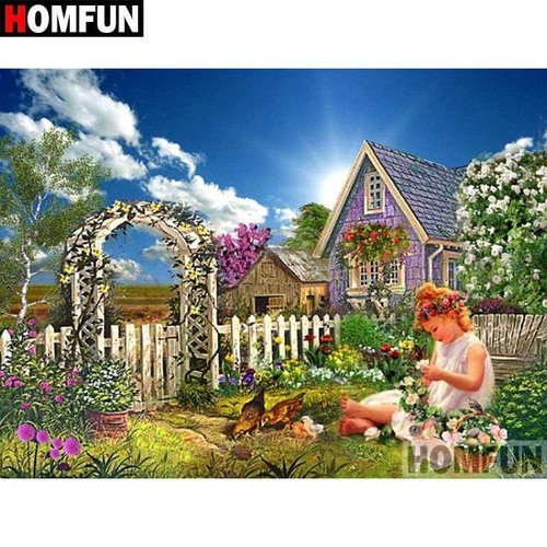 5D Diamond Painting Girl by the Chickens Kit