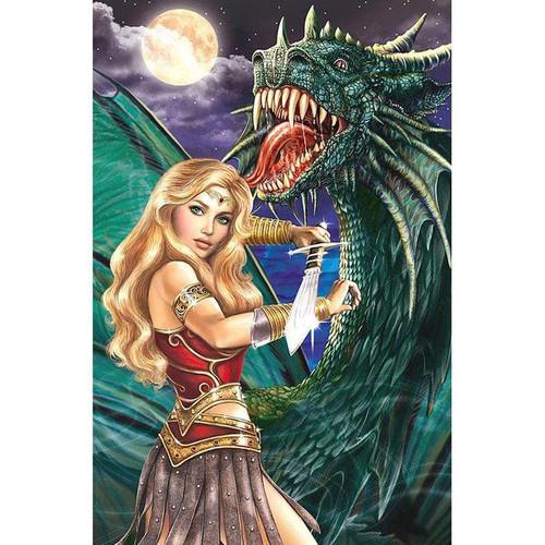 5D Diamond Painting Woman Warrior and Dragon Kit