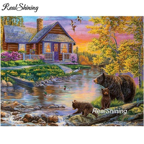 5D Diamond Painting Bears by the Cabin at the Stream Kit