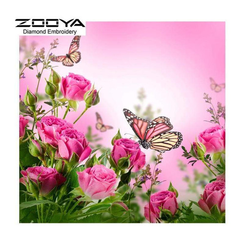 5D Diamond Painting Butterfly on Pink Roses Kit