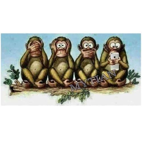 5D Diamond Painting Four Cute Monkeys Kit