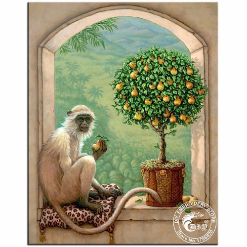5D Diamond Painting Monkey and a Pear Tree Kit