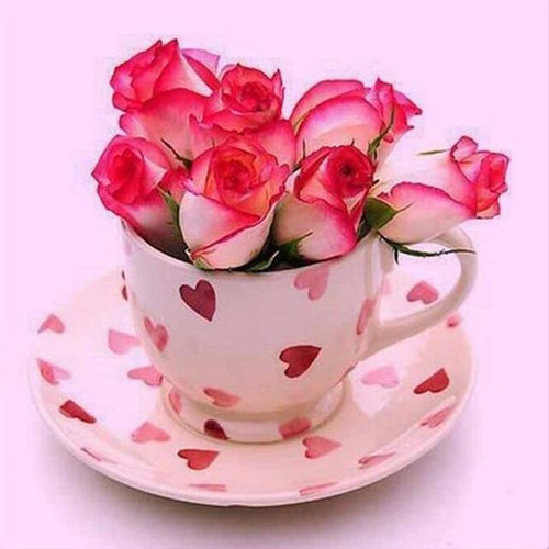 5D Diamond Painting Rose Buds in a Tea Cup Kit