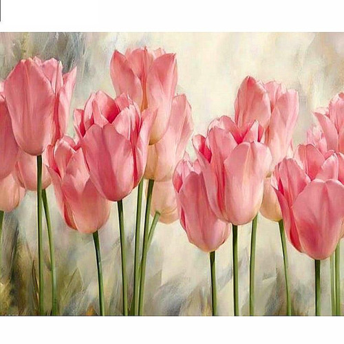 5D Diamond Painting Light Pink Tulips Kit