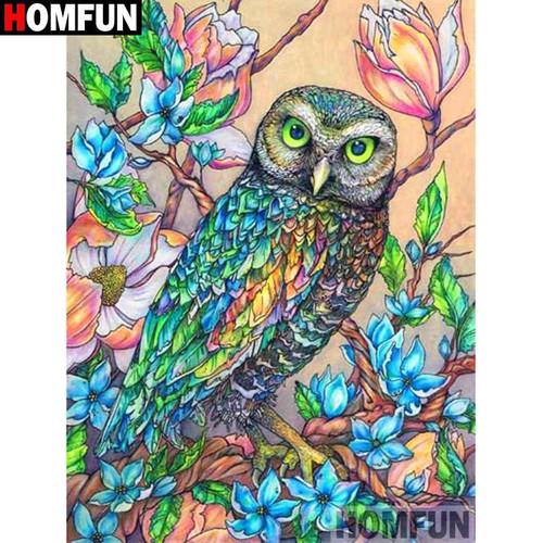 5D Diamond Painting Owl and Blue Flowers Kit