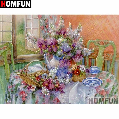 5D Diamond Painting Kitchen Table Flower Bouquet Kit
