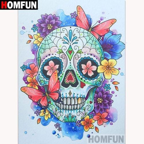 5D Diamond Painting Pink Butterfly Skull Kit
