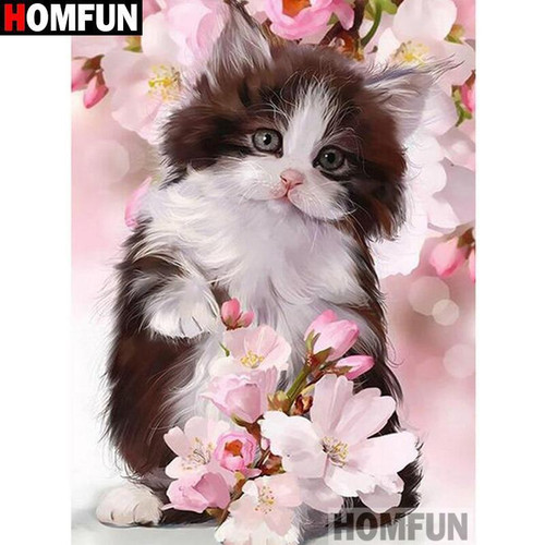 5D Diamond Painting Kitten in the Pink Flowers Kit