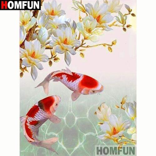 5D Diamond Painting Red and White Koi Fish Kit
