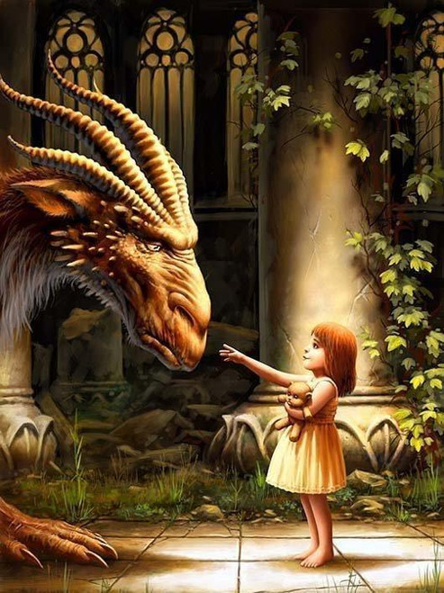 5D Diamond Painting Little Girl and the Dragon Kit