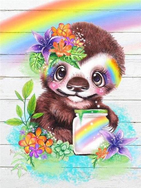 5D Diamond Painting Rainbow Jar Baby Sloth Kit