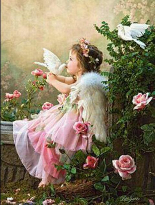 5D Diamond Painting Little Angel and Doves Kit