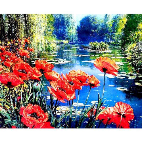 5D Diamond Painting Red Flowers by the Pond Kit