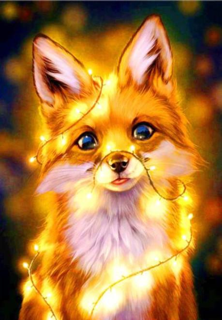 5D Diamond Painting Lighted Yellow Fox Kit