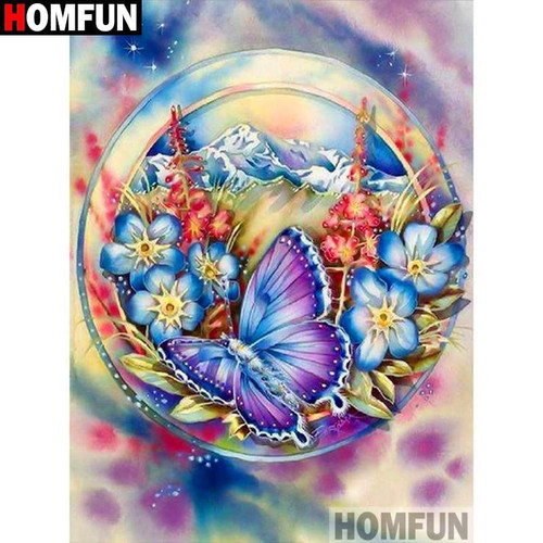 5D Diamond Painting Butterfly Flower Circle Kit