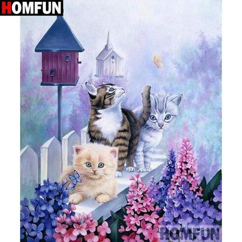 5D Diamond Painting Three Kittens and Bird Houses Kit