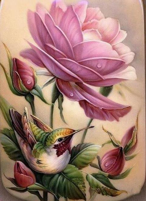 5D Diamond Painting Hummingbird and Pink Roses Kit
