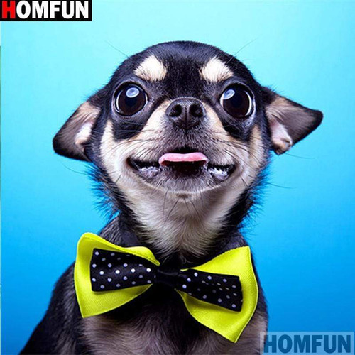 5D Diamond Painting Yellow Bow Tie Chihuahua Kit