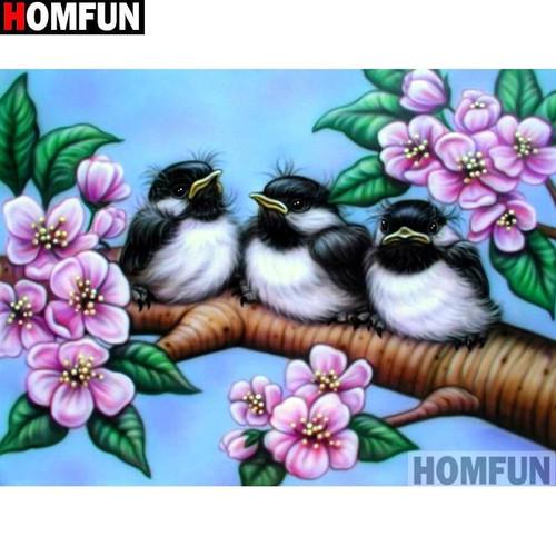 5D Diamond Painting Three Birds on a Branch Kit
