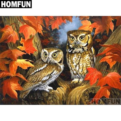 5D Diamond Painting Two Owls in the Fall Leaves Kit