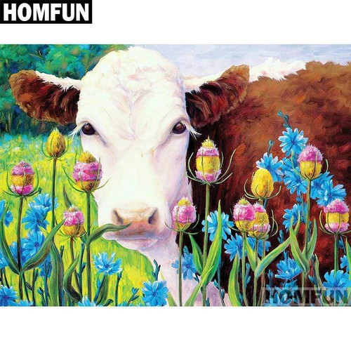 5D Diamond Painting Cow in the Flowers Kit