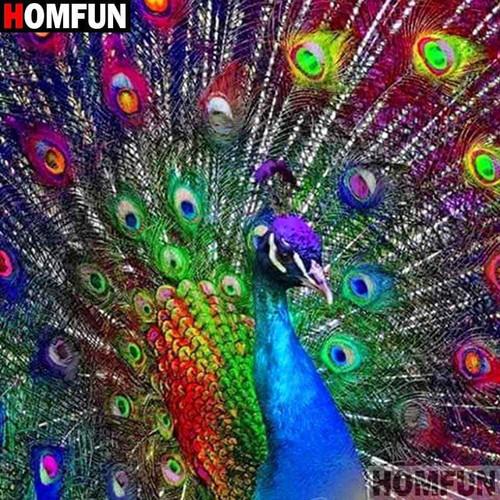 5D Diamond Painting Rainbow Peacock Tail Kit