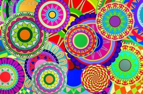 5D Diamond Painting Circles in Abstract Colors Kit