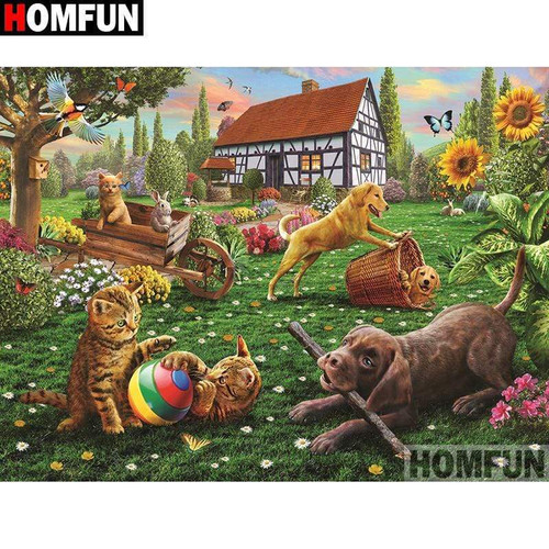 5D Diamond Painting Pets Playing in the Yard Kit