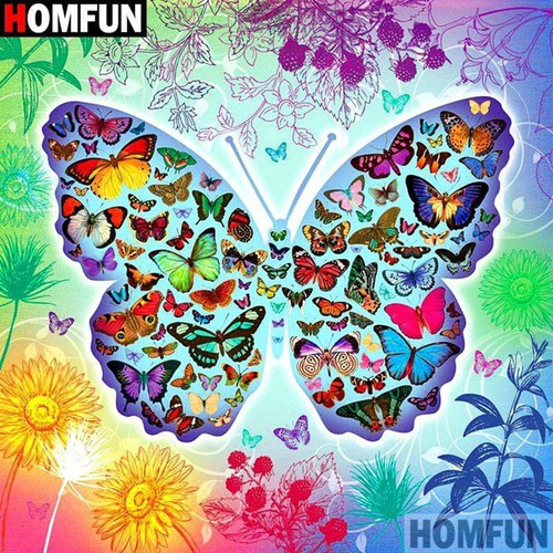 5D Diamond Painting Multi Color Butterfly Collage Kit