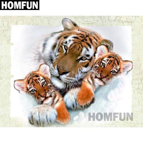 5D Diamond Painting Tiger and Cubs Kit