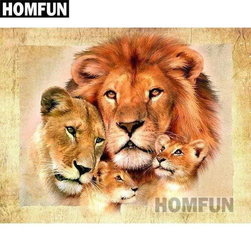 5D Diamond Painting Lions and Cubs Kit