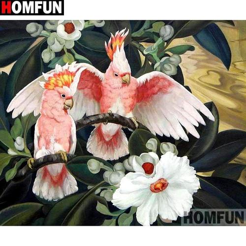5D Diamond Painting Pink Tropical Birds Kit