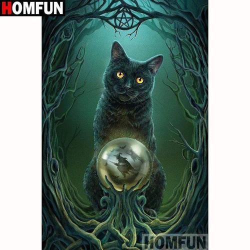 5D Diamond Painting Witches Black Cat Kit
