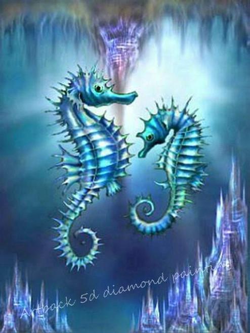 5D Diamond Painting Two Sea Horses Kit