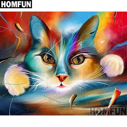 5D Diamond Painting Abstract Cat and Paws Kit